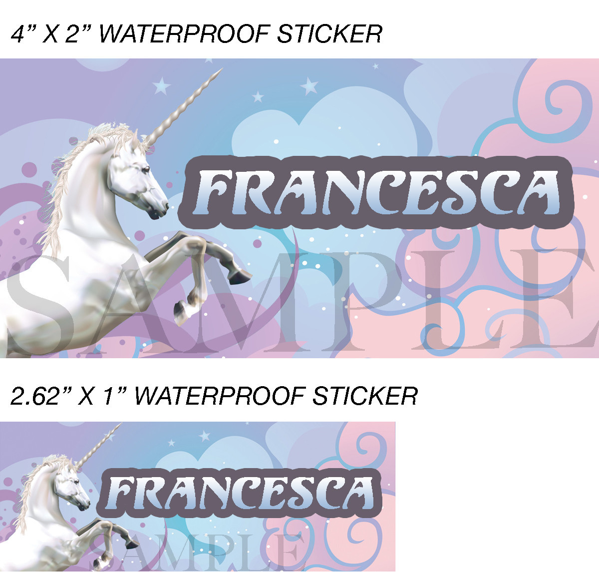 Unicorn Stickers, Personalized Unicorn Labels, Waterproof for Back to School Sup