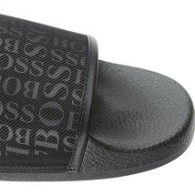 Hugo Boss Men's Slip On Graphic Solar Logo 2 Slider Sandals 50401863 Black image 9