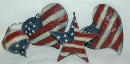 Hannas Handiworks 60650 American Flag 4 Ornament Set 2 Hearts 1 Ball Star image 1