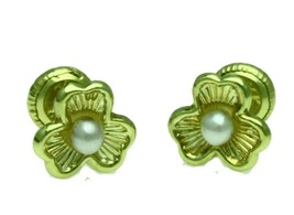 New 14K Solid Yellow Gold Three Leaf Flower Pearl Stud Earrings Large Sc... - $23.30