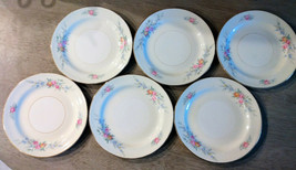 "(6) Homer Laughlin Eggshell Nautilus ""Ferndale"" 6 1/8"" Bread Plates w Gold Trim  - $18.95"