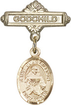 14K Gold Baby Badge with St. Julie Billiart Charm Pin 1 X 5/8 inch - $468.56