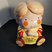 "Vintage 1982 Enesco Dear God Kids Thanks For The Cookies Boy Cookie Jar 9"" - $35.99"