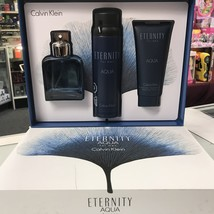 ETERNITY AQUA BY CALVIN KLEIN 3Pcs MEN Set, 3.4 OZ + Body Spray + AS Balm image 3
