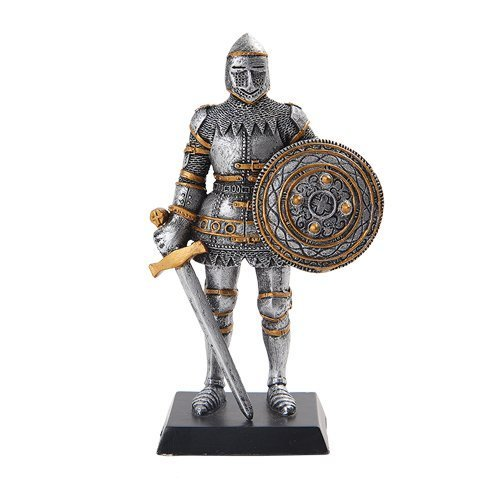 5 Inch Armored Medieval Knight with Sword and Shield Statue Figurine - $15.44