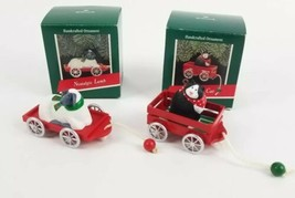 (Lot of 2) Hallmark 1989 Country Cat & Nostalgic Lamb Ornaments Handcrafted - $18.42