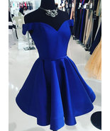 Royal Blue Off the Shoulder Prom Dress Homecoming Dress Short - $109.99+