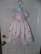 Janie and Jack Pink & White Striped Rose Dress Size 18/24 Months W/Bloom... - $72.00