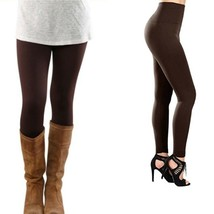 Brown Fleece Leggings High Rise Tummy Control Not See Thru Stretchy Loun... - $18.69