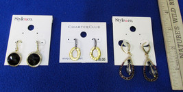 New Jewelry Black Earrings Clear Rhinestones Gold Tone Style&Co Charter Club 3 - $14.10