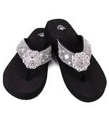 "New Isabella Flip Flops Rhinestone Black Bling Bling Lrg 1"" Wedge Heel S... - $39.99"