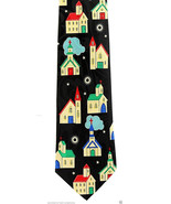 Patchwork Churches Men's Necktie Christian Church Religious Black Neck Tie - $15.79