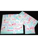 3 Inspirational Script Green Blue Pink Velour Bath, Hand Towel & Wash Cl... - $39.99