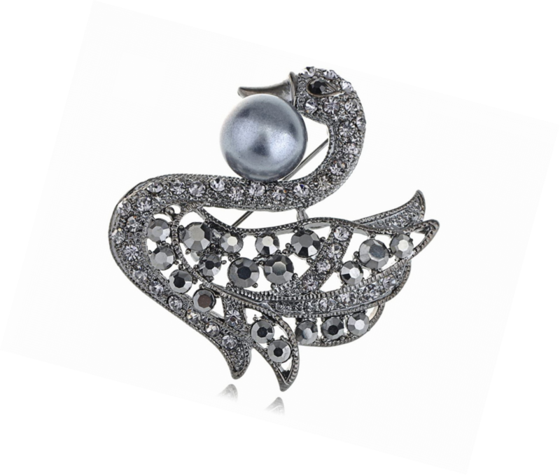 Primary image for Silvery Tone Clear Rhinestones Abalone Colored Stones Swan Bird Brooch Pin