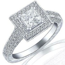 1.54 TCW Princess Cut Square Halo Set Diamond Engagement Ring 14k White ... - $2,464.11