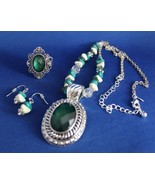 Avon Beaded Chain Medallion Necklace Earrings Ring Gift Set Turquoise Si... - $29.39