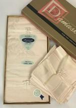 "Vintage Ivory Damask Tablecloth & Napkins Rectangle 64"" x 84"" Arbor Rose... - $59.39"