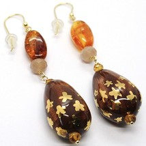 18K YELLOW GOLD EARRINGS AMBER CITRINE ADULARIA, POTTERY DROPS HAND PAINTED STAR image 2