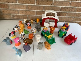 LOT Fisher Price Toy Little People Figure Farm, barn, tractors & zoo Animals 30p - $30.00