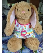 Build A Bear Stuffed Light Brown Tan Easter Bunny Rabbit w Sunflower Dre... - $22.99