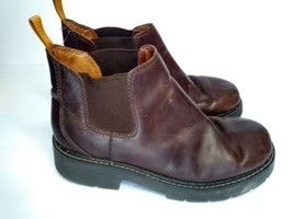 American Eagle Outfitters Women's Brown Leather Hiking Work Boots Sz 8 Slip On - $33.24