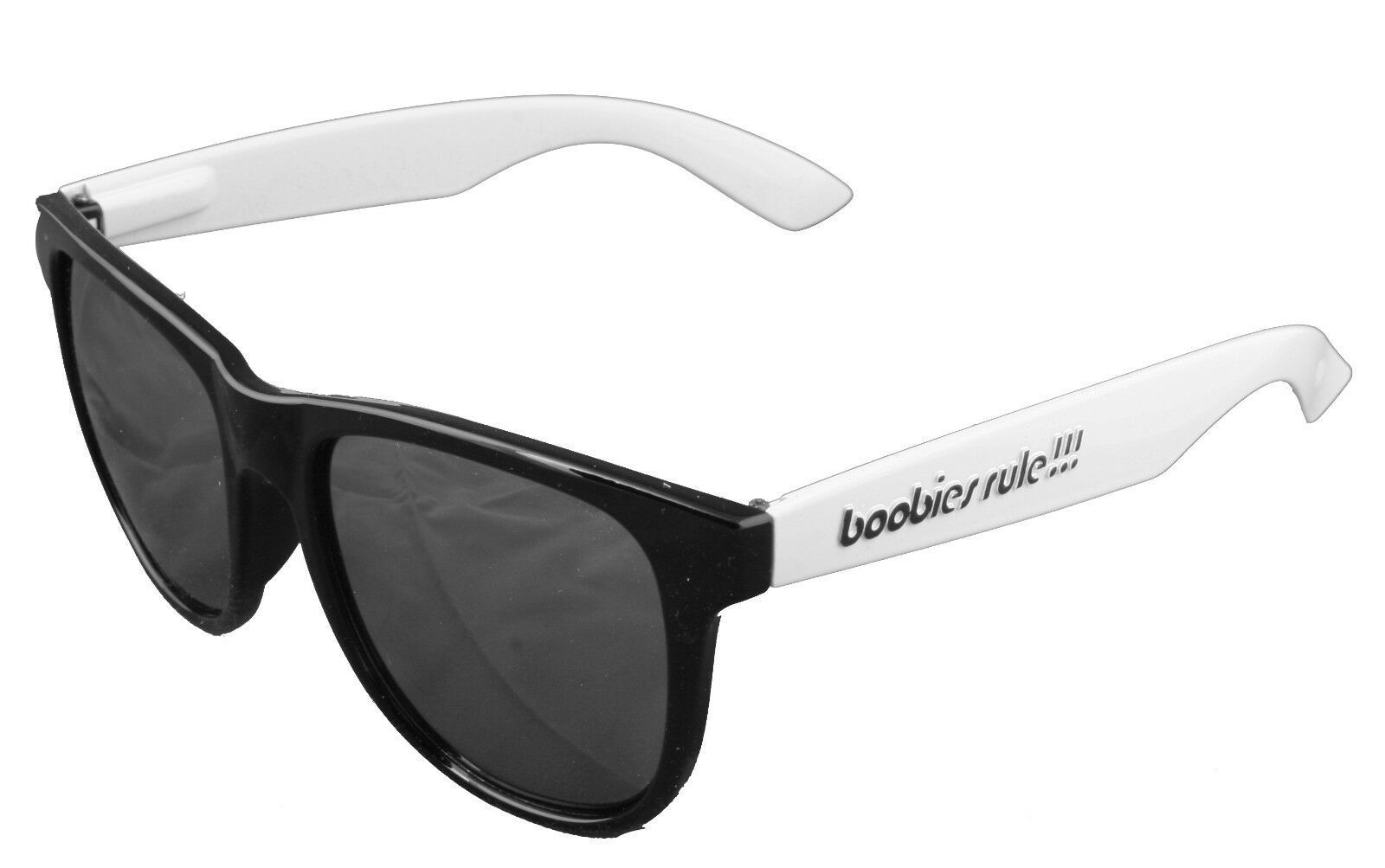 Boobies Rule Black & Yellow Mango White Sunglasses w Mirrored Lens Boobs Tits