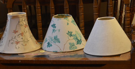 fabric lamp shade set Lot off white leaves leaf green baroque floral flower - $29.69