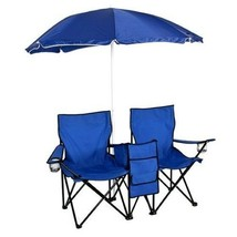 Double Folding Chair w Umbrella Table Cooler Fold Up Beach Camping Nylon... - $123.54