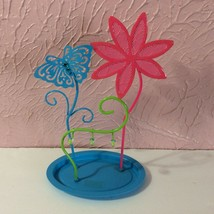 Claires Metal Jewelry Holder Flower Butterfly Pink Blue Green - $14.85