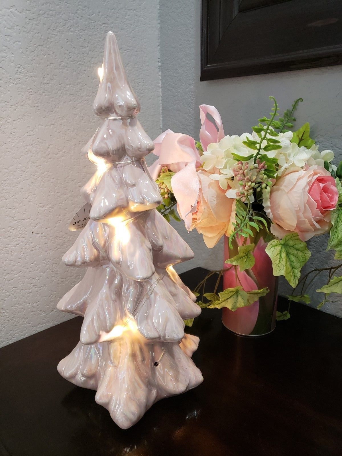 Primary image for Christmas Shabby Chic Ceramic Pink Iridescent Lighted Christmas Tree Decor 14""
