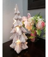 Christmas Shabby Chic Ceramic Pink Iridescent Lighted Christmas Tree Dec... - $44.99