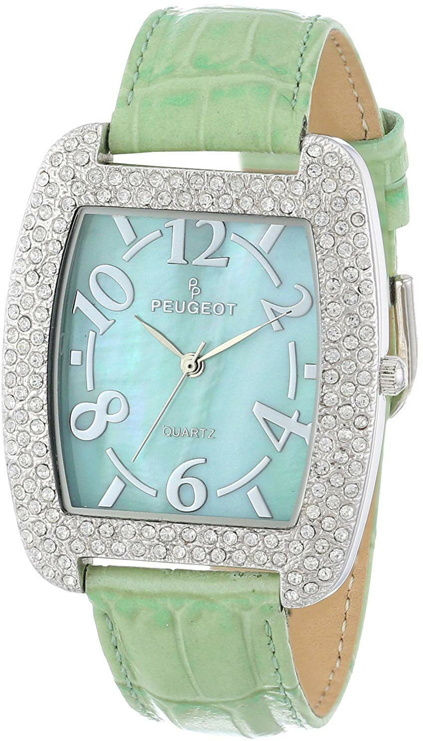 Primary image for Peugeot Womens 342MT Silver-Tone with Crystals Accented Mint Leather Strap