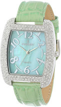 Peugeot Womens 342MT Silver-Tone with Crystals Accented Mint Leather Strap - €56,25 EUR