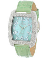 Peugeot Womens 342MT Silver-Tone with Crystals Accented Mint Leather Strap - $62.86
