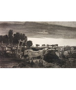 ORIGINAL ETCHING PRINT !! Cattle Cows at Regent Park England - $22.95
