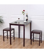 Home Garden Living room 3 pcs Kitchen Dining Room Set Table and 2 Chairs... - $128.79