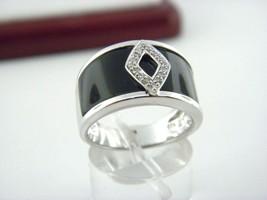 Onice Nera & Anello Diamante in Puro 14k Oro Bianco Misura 7.25 - $516.48