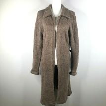 Vintage Pierre Cardin Size L Mohair Blend Tan Brown Textured Long Open C... - $46.75