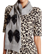 Kate Spade New York Plaid Wool Muffler with Grosgrain Bows Scarf Grey - $98.99