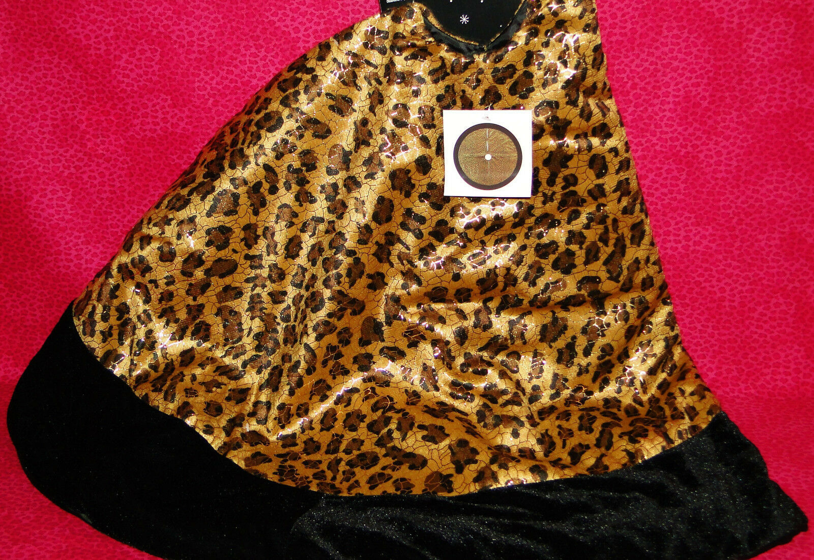 "Christmas Tree Skirt 48"" Leopard Print Velvet with Black Trim Brand New"