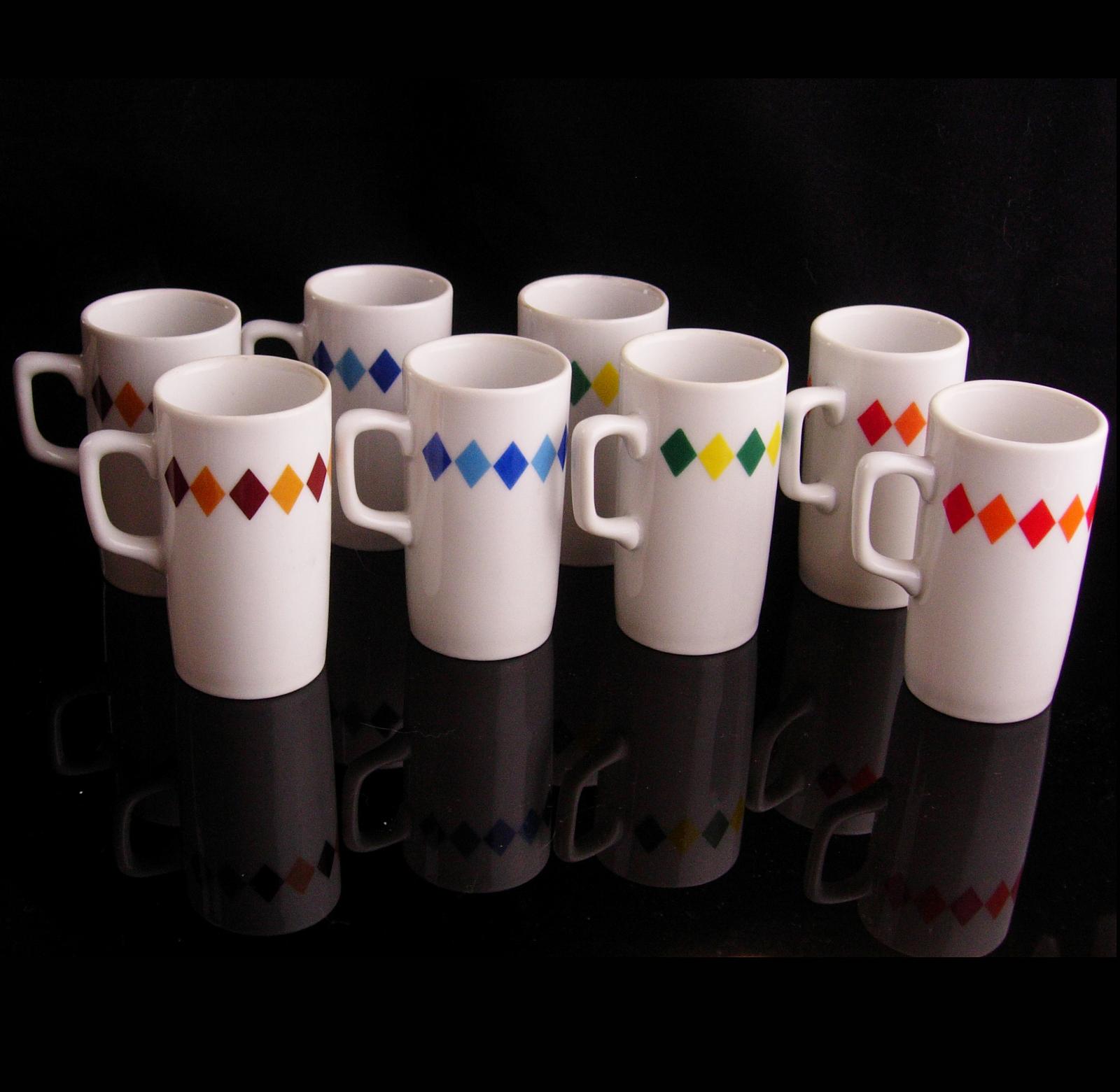 Vintage harlequin demitasse  - 8 cups - arnartcreation cups - brown blue green a