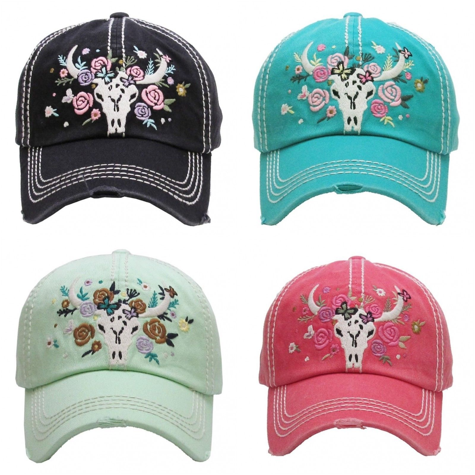 Primary image for FLORAL STEER SKULL Embroidered, Vintage Style Ball Cap