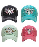 FLORAL STEER SKULL Embroidered, Vintage Style Ball Cap - $19.99