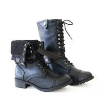 oral-black-combat boots - $26.99