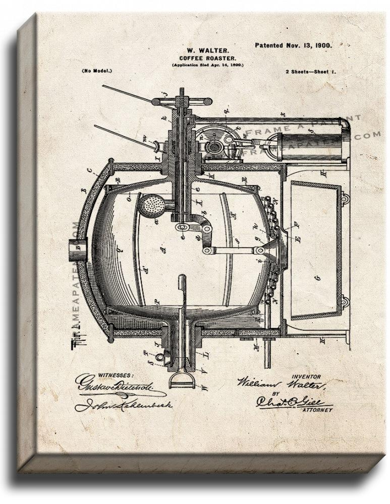 Primary image for Coffee Roaster Patent Print Old Look on Canvas