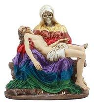 Ebros Day of The Dead Santa Muerte Piadosa in Rainbow Robe Statue La Pieta Sculp - $39.59