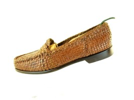 Cole Hann Mens woven Brown leather loafers 8 M preowned - $44.54