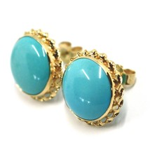 18K YELLOW GOLD EARRINGS, CABOCHON ROUND TURQUOISE SPIRAL FRAME, MADE IN ITALY image 2