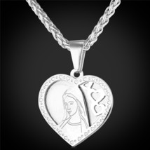 U7 Brand Heart Necklace & Pendant For Women Gold Color Stainless Steel Catholic  - $19.62