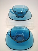 2 Sets Vereco France Mid-Century Modern Retro Square Cups & Saucers Blue  - $9.85